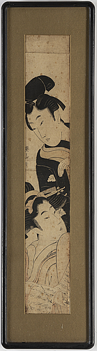 Utamaro kitagawa (c.1753-1806), after, and kikugawa eizan (1787-1867), after, 2 colour woodblock prints. japan, 19th c.