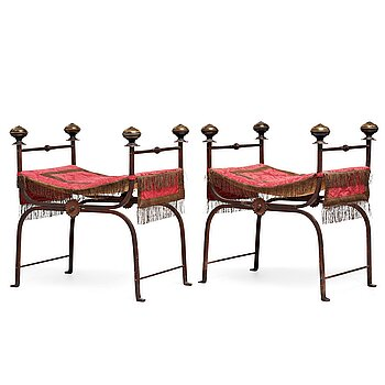 230. Scandinavian designer, possibly, a pair of iron and brass folding stools, 1920-30's.