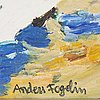Anders fogelin, oil on canvas/paper-panel, signed.