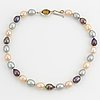 Cultured freshwater pear necklace, clasp silver with faceted citrine.