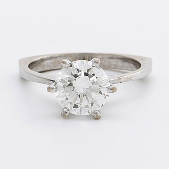 DIAMANTRING 18K vitguld m 1 briljant ca 2 ct, ca J-K VS2-SI1.