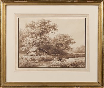 WILLEM ROELOFS, ink (sepia) on paper, signed.
