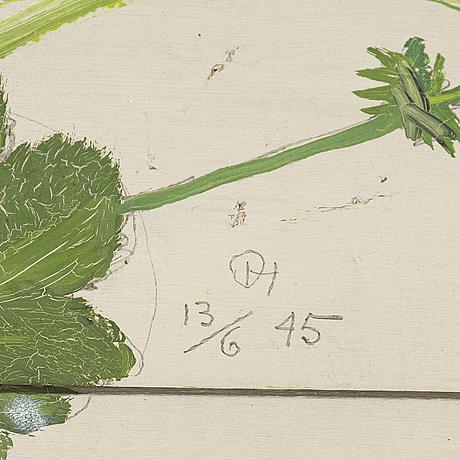Olle hjortzberg, olja på pannå (plankor) signerad daterad 13/6-45.