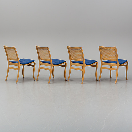 Bruno mathsson, four 'kerstin' beech and rattan chairs from dux.