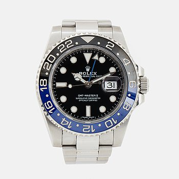 "ROLEX, Oyster Perpetual Date, GMT-Master II, Chronometer, ""Batman"", wristwatch, 40 mm,"