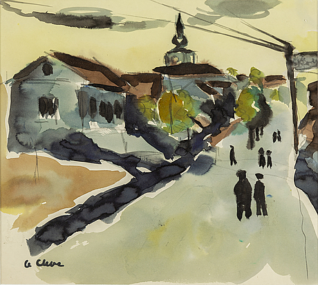 Agnes cleve, water colour. signed with stamp a cleve.