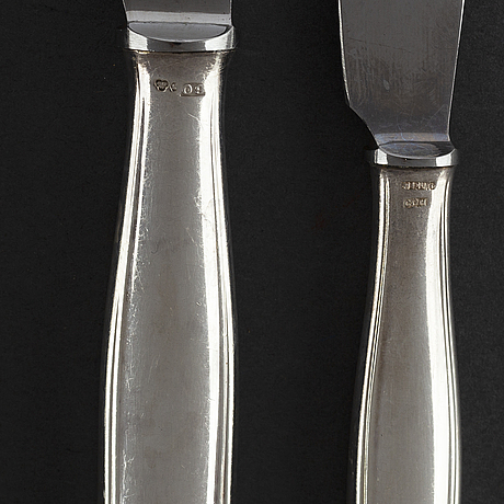 """Gab, cg hallberg, samt hallbergs, bestickservis, 65 delar, silver. """"kungsholm"""", stockholm, 1950/60-tal."""