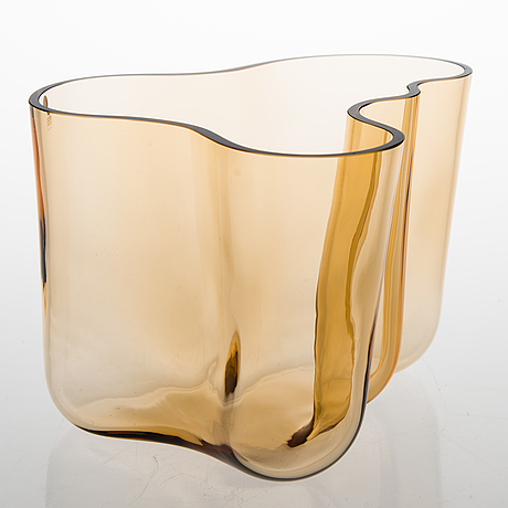 "An amber glass vase ""savoy 3030"" by alvar aalto for iittala."