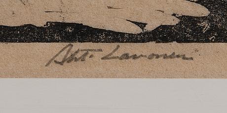 Ahti lavonen, puupiirustus, signeerattu ja päivätty 16.5. -58.