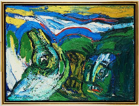 Bengt lindstrÖm, crocodile in lapplandia (krokodil i lappland), oil on canvas, signed.