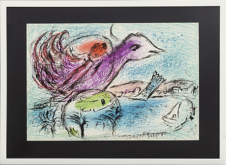 Marc chagall, colour lithographe, unsigned, from derrière le miroir nr 132 1962.