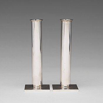 158. Wiwen Nilsson, a pair of sterling candlesticks, Lund, Sweden 1949.