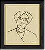 Agnes cleve, crayon on paper. signed with stamp a cleve.