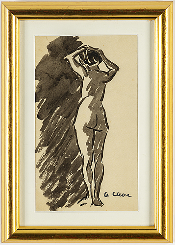 Agnes cleve, ink on paper. signed with stamp a cleve.