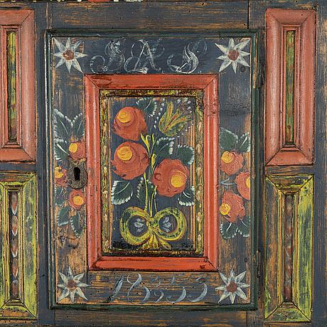 HÖrnskÅp, allmoge, skåne, målad datering 1855.