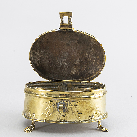 A baroque style brass box later part of the 19th century.