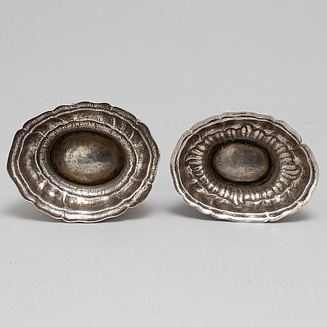 Two german 18th century parcel-gilt silver salts, marked johann jacob rösch, nürnberg (1764-1807) and augsburg 1777-79.
