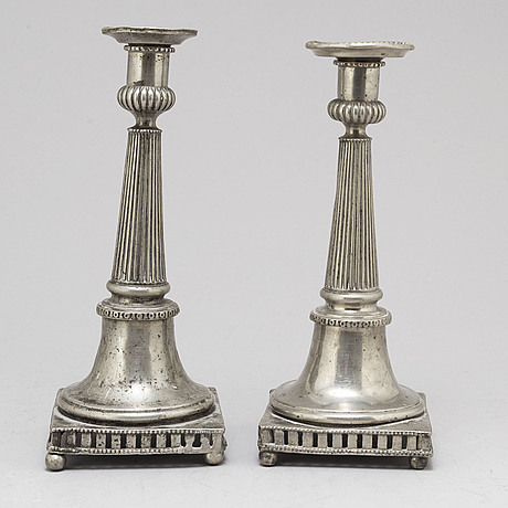 A pair of late gustavian pewter candlesticks, circa 1800.