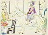 Pablo picasso, after, colour lithographe, dated in print, from verve 29-30, printed by mourlot, paris 1954.
