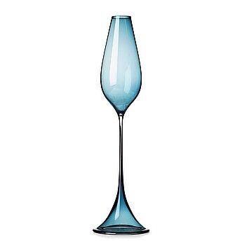 """5. Nils Landberg, a blue tinted glass """"Tulip"""" vase, Orrefors, Sweden 1950's."""