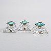 Ljusstakar 3 st samt strÖare 2 st norge/danmark sterling silver och emalj 1900-talets mitt.