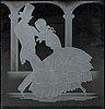 GlÖssner & co, paneler, 3 st, graverat glas, två signerade glössner co, en daterad 1960.