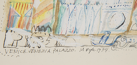 Madeleine pyk, gouache, signed and dated 1974.