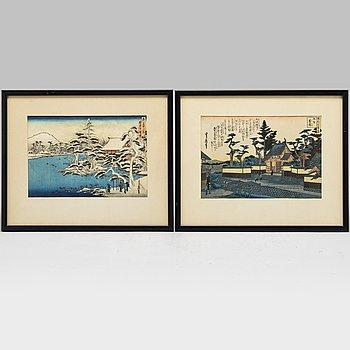 HASEGAWA SADANOBU I, two colour woodblock prints from album, Japan, 20th century.