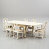 A dining table and six chairs, rococo style, mid 20th century.