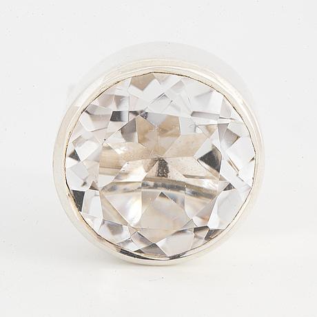 Bengt erik hallberg, ring sterlingsilver med fasettslipad bergkristall.