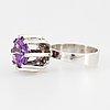 G.kaplan, ring, silver med färgväxlande syntetisk safir.