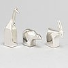 Gunnar cyrÉn, skulpturer 3 st, silverplätterad zink, dansk designs, japan.