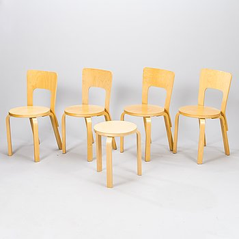 ALVAR AALTO, A set of four chairs model 66 and one stool model 60 for Artek, latter half of 20th century.
