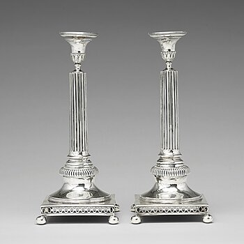 198. A pair of Swedish 18th century silver candlesticks, mark of Arvid Floberg, Stockholm 1798.