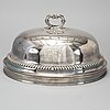 An english sheffield silver plate meat cover engraved with famity crest.