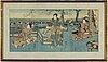 Utagawa kuniyoshi (1797/98-1861), a colour woodblock triptych, japan, 19th century.