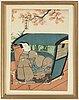 Utagawa kunisada (1786–1864), two coloured woodblock prints, japan, 19th century.