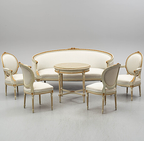 A sofa, four chairs and a table, gustavian style, early 20th century.
