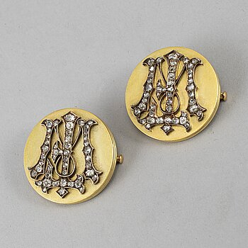 A pair of Russian 20th century gold and diamonds brosches, unmarked.