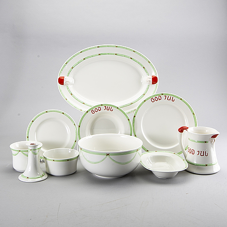 """A 62 pieces later part of the 20th century christmas porcelain service, """"god jul""""/""""old gustavsberg"""", rörstrand."""