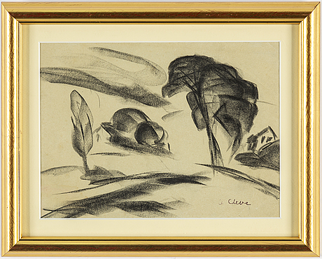 Agnes cleve, pencil on paper. signed with stamp a cleve.