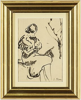 AGNES CLEVE, ink on paper. Signed.