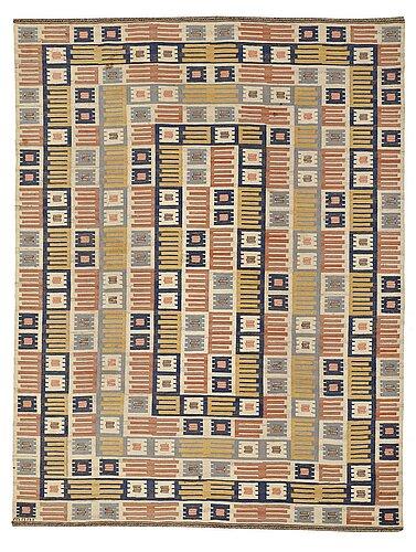"Märta måås-fjetterström, a carpet, ""porslinsmattan"", flat weave, ca 354,5 x 272,5 cm, signed ab mmf."