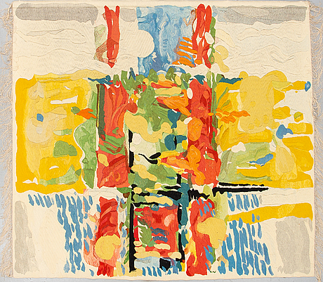 """A tapestry, """"brobygget"""", tapestry weave, ca 199,5 x 215 cm, signed ls bw."""