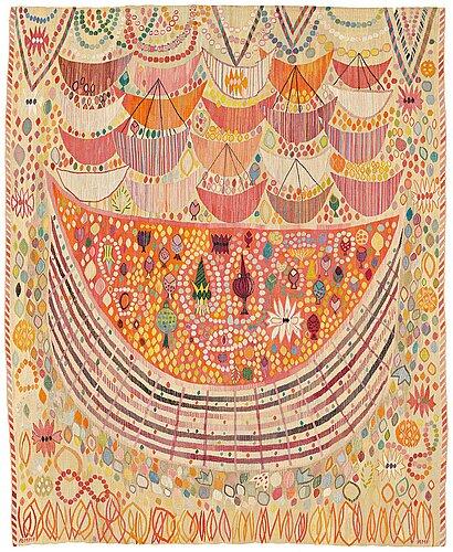 "Ann-mari lindbom, gift forsberg, a tapestry, ""valdemarsskatten"", a tapestry variant, ca 223 x 178,5-180,5 cm, signed ab mmf amf."