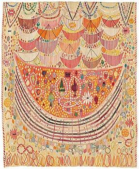 "218. Ann-Mari Lindbom, gift Forsberg, A TAPESTRY, ""Valdemarsskatten"", a tapestry variant, ca 223 x 178,5-180,5 cm, signed AB MMF AMF."