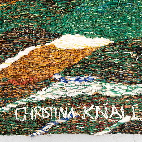 """A tapestry, """"utsikt över skärgården"""", flat weave, ca 83 x 110,5 cm, signed christina knall 1975."""