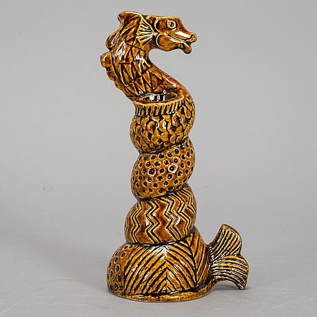 Lisa larson, a unique stoneware candlestick.