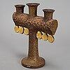 Lisa larson, a stoneware candelabra and a figurine. gustavsberg.