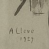 Agnes cleve, ink on paper. signed a cleve and dated 1929.